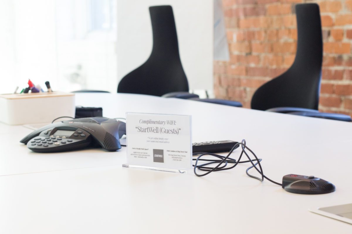 Meetings at StartWell can easily use teleconferencing - we offer speaker phones with outbound dialling free