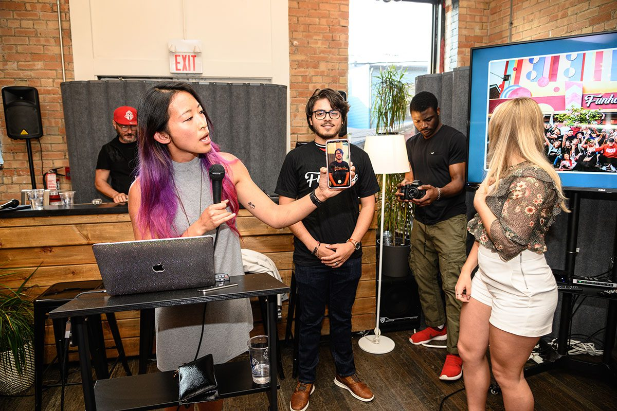 In StartWell's Event Space: Demonstrating Augmented Reality tools used at the Funhouse, an immersive art popup in Toronto: https://funhousetoronto.com