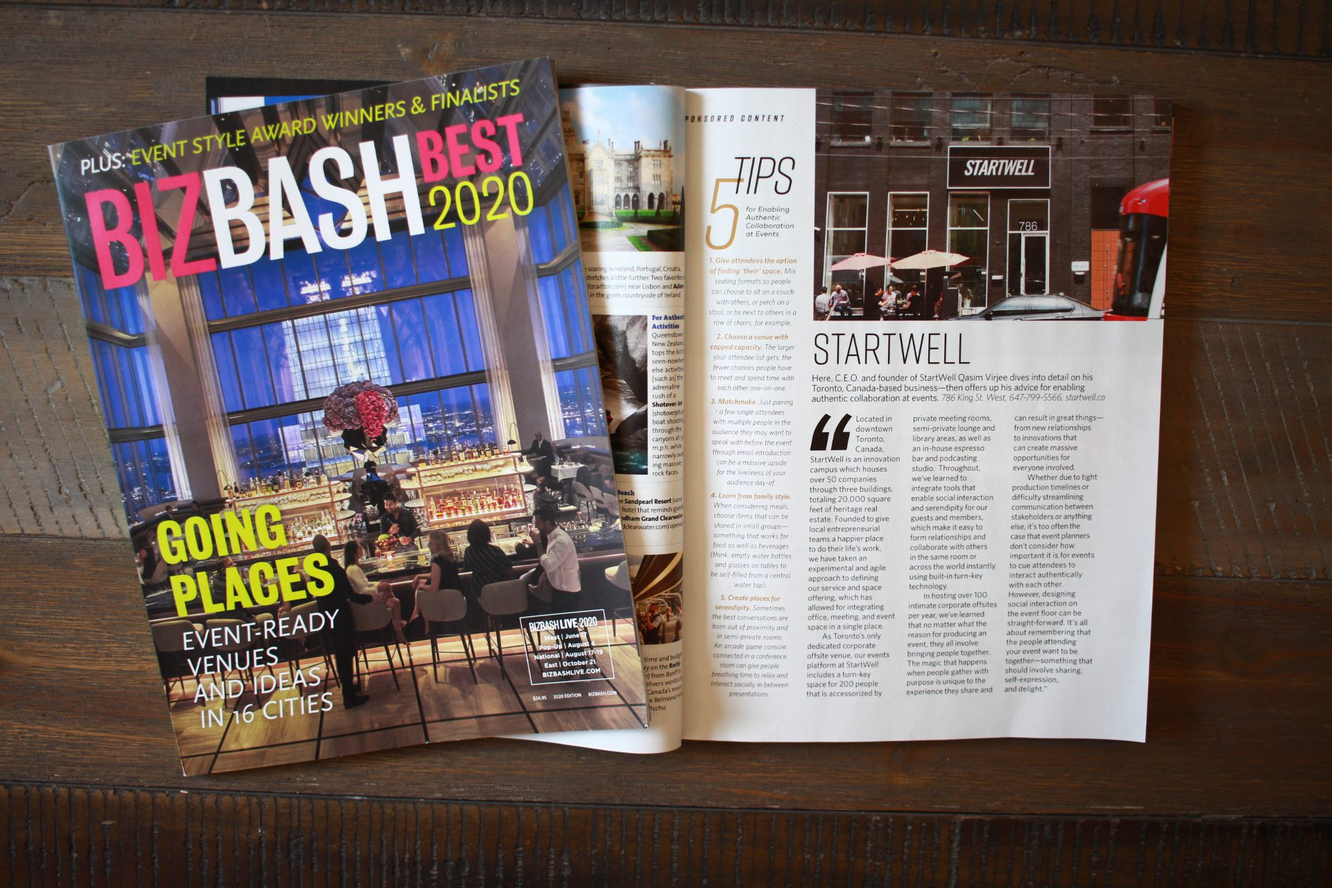 StartWell Event Venue Featured in BizBash Best 2020