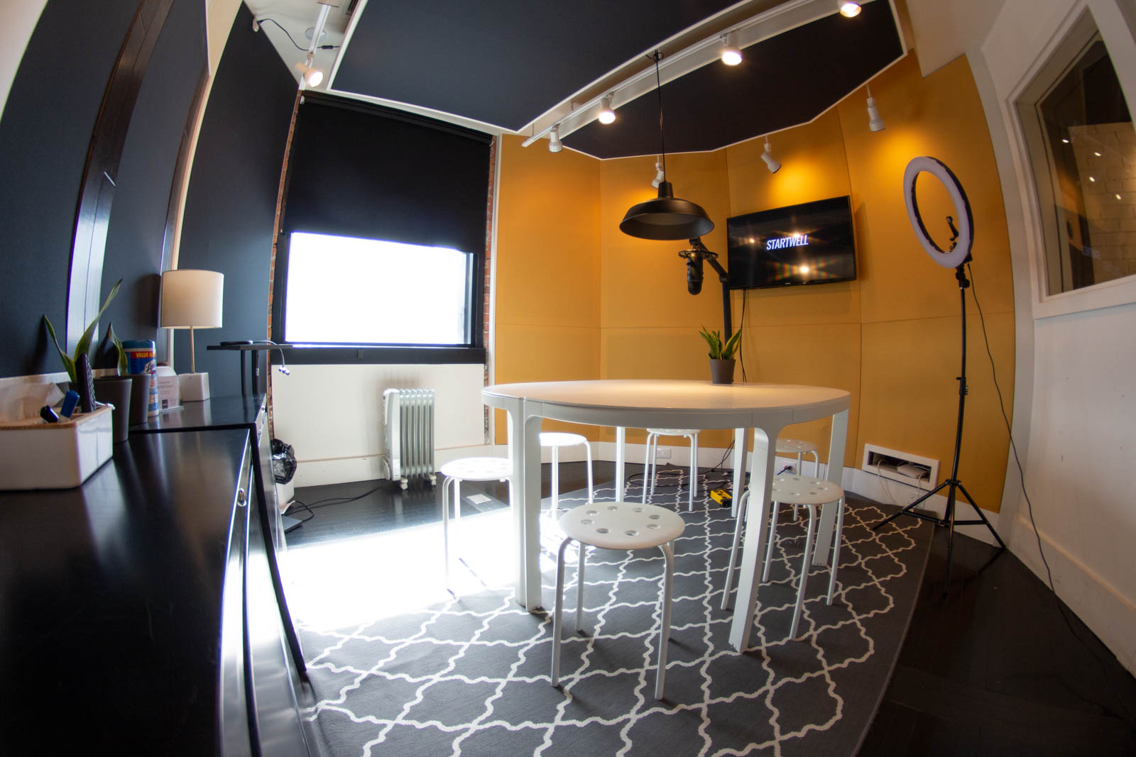 Professionally sound-proofed, our podcast recording studio offers a unique space for meetings