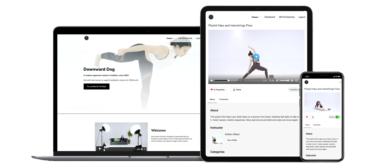 Downward Dog On Demand - Streaming yoga and meditation on any device with monthly unlimited subscription